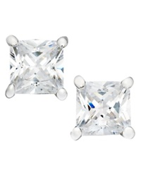 B. Brilliant Sterling Silver Earrings Square Cubic Zirconia Studs 1 Ct. T.W.