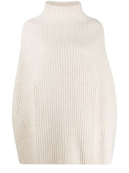 Pringle Of Scotland Cropped Ribbed Poncho Neutrals