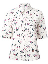Paul Smith Ps By Printed Shortsleeved Shirt Women Cotton 40 Nude Neutrals