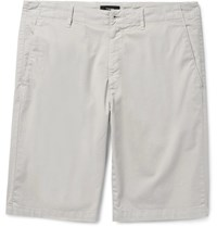 Theory Zaine Slim Fit Stretch Cotton Twill Shorts Off White