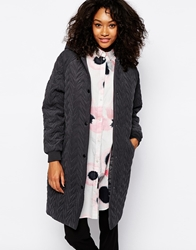 Monki Quilted Long Line Jacket Grey