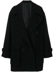 Juun.J Oversized Double Breasted Coat Polyester Viscose Cashmere Wool Black