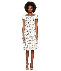 Zac Posen Feather Print Crepe Short Sleeve Dress Ivory Coral Women's Dress Red