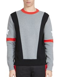 Givenchy Asymmetrical Stripes And Stars Sweatshirt Grey