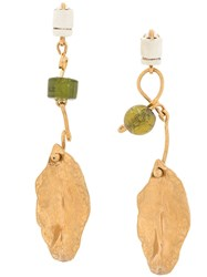 Marni Clip On Hanging Leaf Earrings Gold