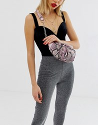 Missguided Snake Zip Detail Chain Bumbag In Grey Snake Pink