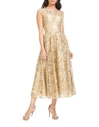 Theia Embroidered Fit And Flare Dress Gold
