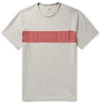 Faherty Slim Fit Striped Slub Cotton Jersey T Shirt Gray