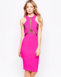 Lashes Of London Electra Midi Dress With Mesh Panel Pink