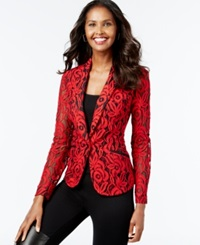 Inc International Concepts Two Tone Lace Blazer Only At Macy's Glam Red Black