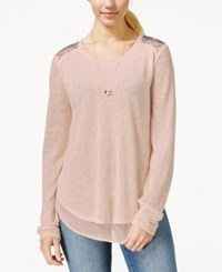 Eyeshadow Juniors' Embellished Sheer Trim Tunic Top Light Pink