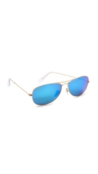 Ray Ban Mirrored Shrunken Aviator Sunglasses Matte Gold Grey Blue Mirror