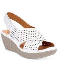 Clarks Collection Women's Reedly Variel Wedge Sandals Women's Shoes White Leather
