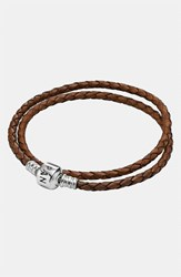 Pandora Design Women's Pandora Leather Wrap Charm Bracelet Brown