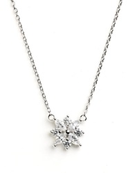Lord And Taylor Sterling Silver Small Flower Pendant Necklace