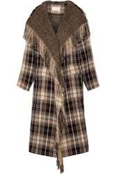 Chloe Fringed Plaid Wool And Cotton Blend Coat Beige