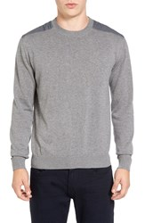 French Connection Men's Nylon Trim Pullover Mid Grey Melange