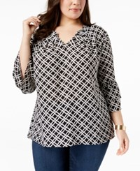Ny Collection Plus Size Printed Ruffle Sleeve Blouse Black Iconic