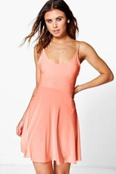 Boohoo Slinky Low Back Skater Dress Neon Coral Neon Coral