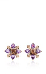 Alasia Anemoni Smokey Quartz And Amethyst Earrings Purple