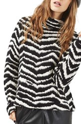 Topshop Women's Zebra Funnel Neck Sweater