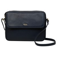 Tula Nappa Originals Leather Small Flapover Cross Body Bag Dark Blue