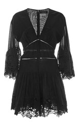 Thakoon Lace Ruffled Playsuit Black