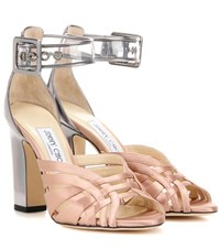 Jimmy Choo Tristen 100 Satin And Leather Sandals Metallic