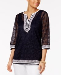 Alfred Dunner Seas The Day Lace Overlay Applique Tunic Navy
