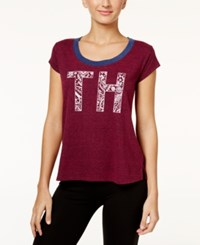 Tommy Hilfiger Flocked Logo Pajama T Shirt Red Plum