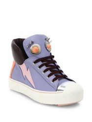 Fendi Faces Studded Leather High Top Sneakers Purple