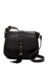 T Shirt And Jeans Whipstitched Faux Leather Saddle Bag Black
