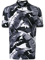 Dolce And Gabbana Palm Leaf Print Polo Shirt Men Cotton 48 Black