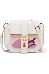 Tina Craig For Gianfranco Lotti Sling Small Printed Paneled Leather Shoulder Bag White