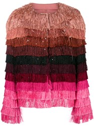 Marco De Vincenzo Fringed Jacket Pink And Purple