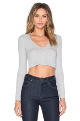 Lanston Deep V Long Sleeve Crop Top Light Gray