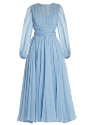 Dolce And Gabbana Gathered Silk Chiffon Dress Light Blue