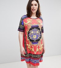 Pink Clove T Shirt Dress With Luxe Scarf Print Multi