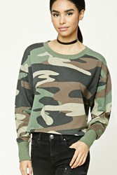 Forever 21 Cropped Camo Print Tee Olive Brown