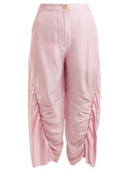 By Walid Meril Pleated Raw Silk Cropped Trousers Pink