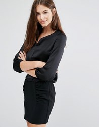 See U Soon Shift Dress With Rouched Skirt Black Black