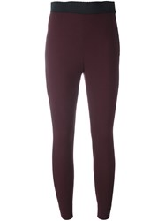 Dolce And Gabbana Contrast Elasticated Waistband Leggings Pink And Purple