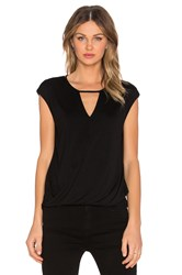 Heather Keyhole Wrap Top Black
