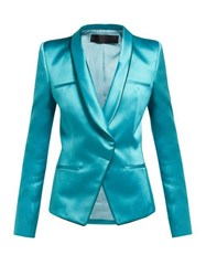 Haider Ackermann Single Breasted Wrap Duchess Satin Blazer Blue