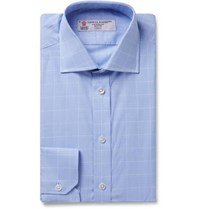 Turnbull And Asser Light Blue Cutaway Collar Prince Of Wales Checked Cotton Poplin Shirt