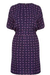 Warehouse Mini Paisley Shift Dress Blue