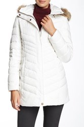 Marc New York Kara Genuine Coyote Fur Trim Down Water Resistant Jacket White