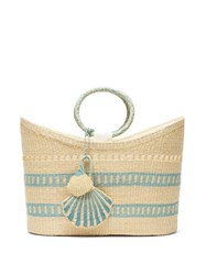 Sensi Studio Seashell Charm Woven Straw Tote Blue Multi