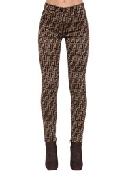 Fendi High Waist Logo Print Skinny Pants Brown