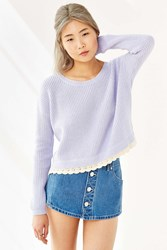 Kimchi And Blue Kimchi Blue Lace Trim Cropped Sweater